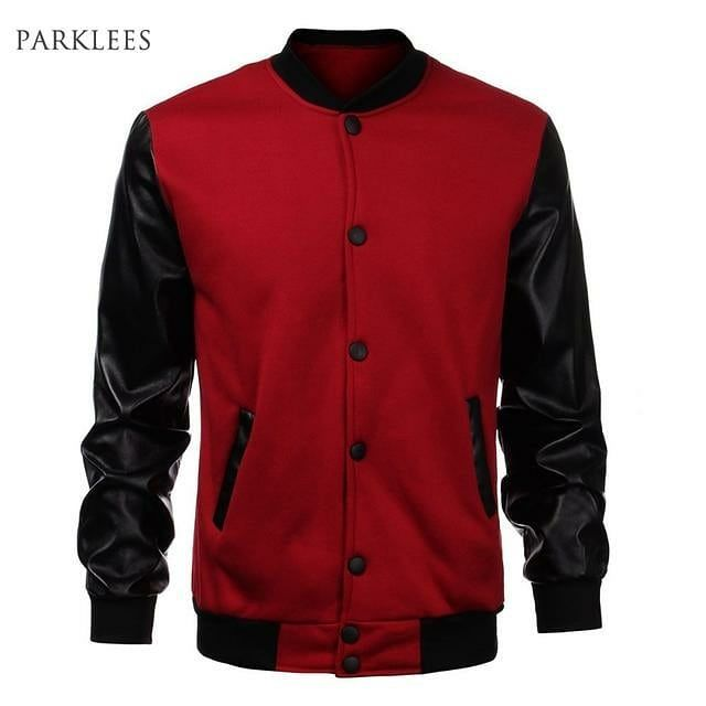 Cool Mens Wine Red Baseball Jacket Autumn Fashion Slim Black Pu Leather Sleeve Bomber Jacket Jaquetas Men B Jackets Men Fashion Leather Jacket Men Mens Jackets