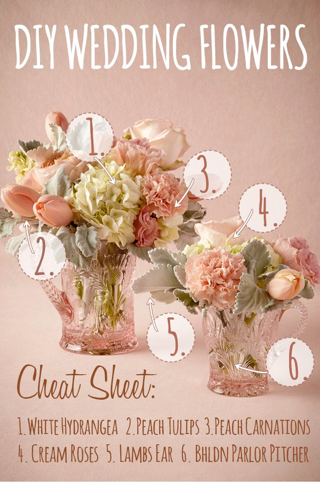 This charming DIY wedding flower centerpiece was created using tulips, hydrangea, roses, carnations and lambs ears.
