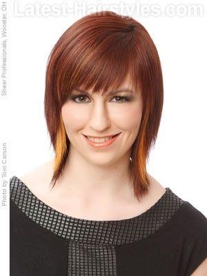 medium shag hairstyle with choppy bangs by catherine jones