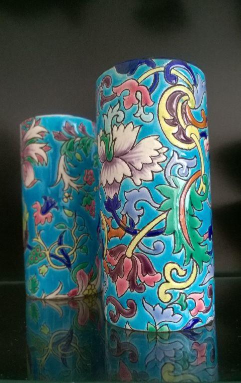 Emaux de Longwy - pair of Cloisonné de Longwy vases, ca 1930's - e.w. personal collection