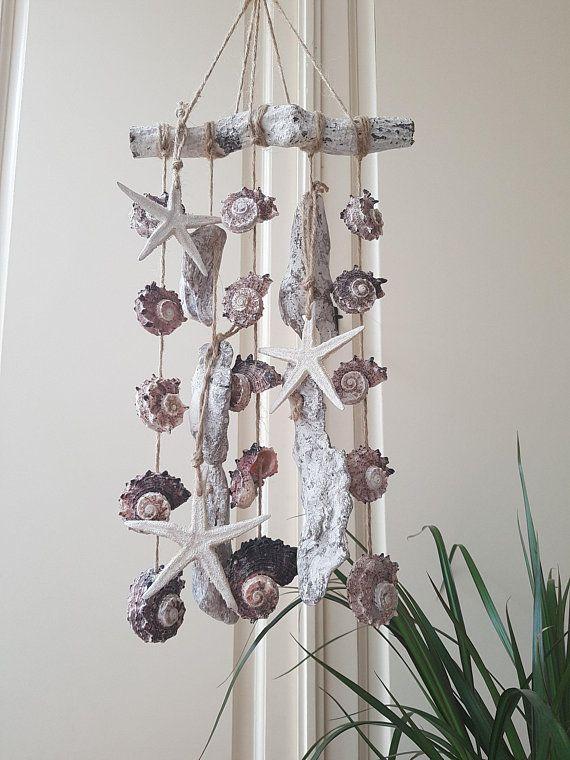 Driftwood Schelpen Hanger Decoratie Zeester Beach Cadeau Etsy Hanger Driftwood Baby Mobile