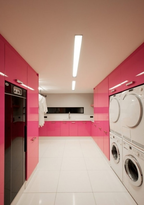 Modern Laundry Room with Glossy Pink Cabinets