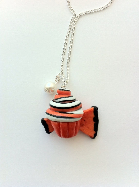 Finding Nemo Inspired Cupcake Necklace, Polymer Clay Charm