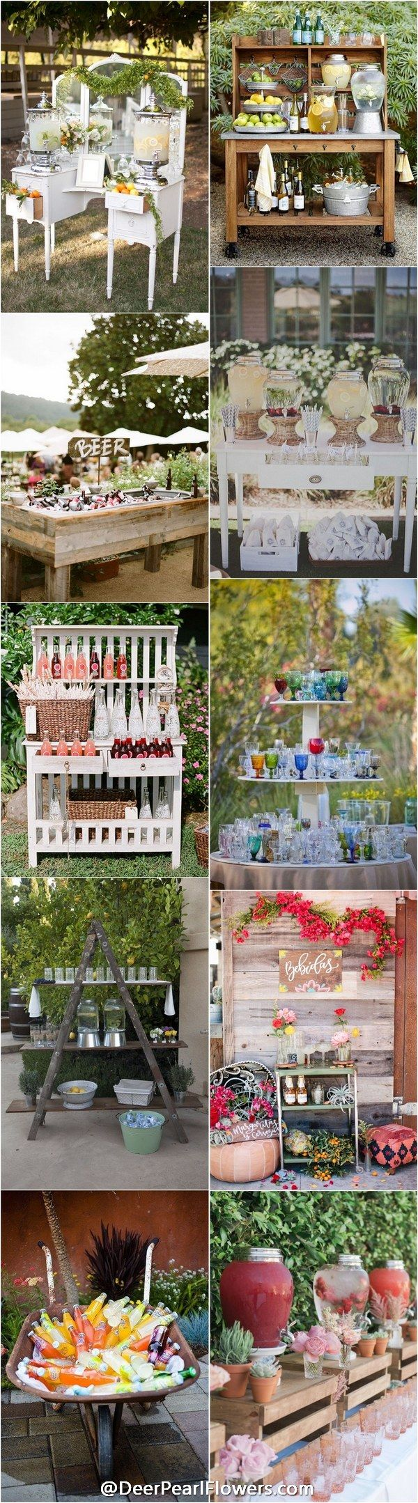 rustic wedding drink station decor ideas / http://www.deerpearlflowers.com/wedding-drink-bar-station-ideas/