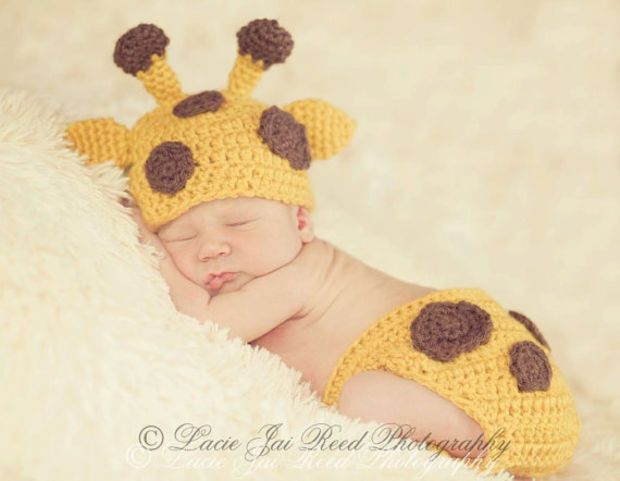 Crochet Baby Giraffe Hat and Diaper Cover Set - Crochet Giraffe - Baby Crochet Hat - Newborn Hat - Photo Prop