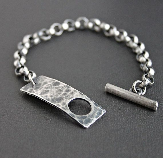 Men's Silver Toggle Clasp Chain Bracelet Rustic by LynnToddDesigns http://www.thesterlingsilver.com/product/bling-jewelry-simulated-onyx-cz-kite-micro-pave-mens-stud-earrings-7mm-925-sterling-silver/