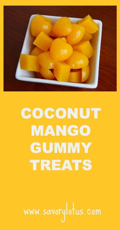 Coconut Mango Gummy Treats ~ savorylotus.com JF review - less gelatin 4tbs too rich on coconut milk