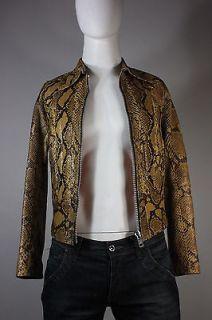 Mens Handmade Custom Snakeskin Python Leather Jacket East West XS 34