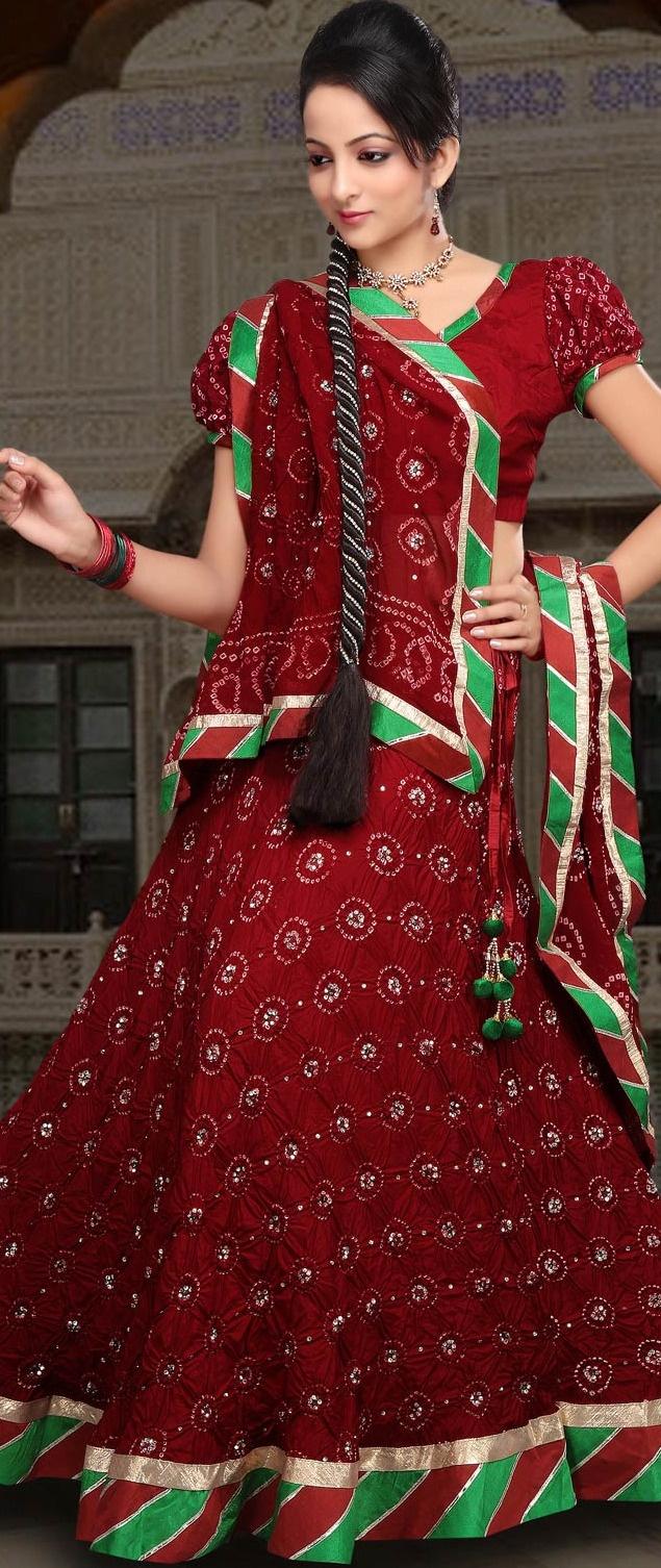Maroon Pure Silk Bandhej Lehenga Choli with Dupatta @ $162.75 | Shop @ http://www.utsavfashion.com/store/sarees-large.aspx?icode=ljn531