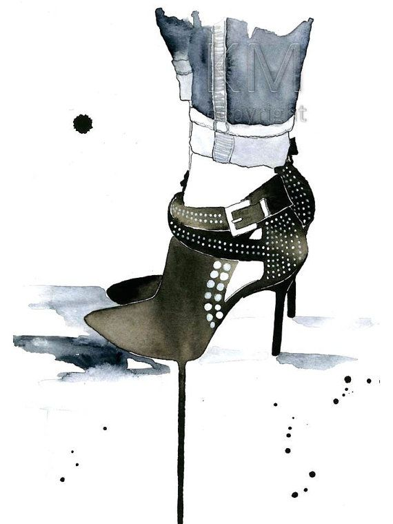 Studded, Fashion Illustration Watercolor Painting Print  -- Black Home/office decor and wall art, Fashion prints, shoes