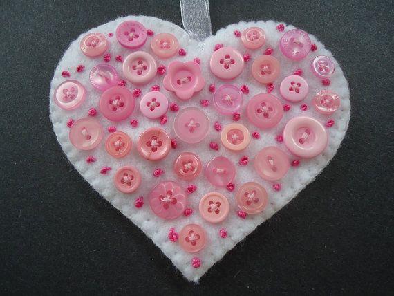 Botón fieltro corazón, Navidad árbol sentía ornamento, decoración de corazón, de fieltro fieltro adorno botón, corazón de amor de San Valentín, sentía ornamento #C023 RTS