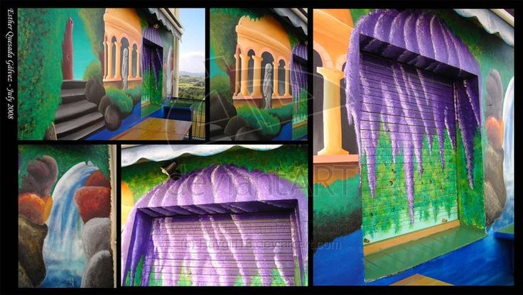 """Mural Project - Magic Garden. These are phtos taken from my parents' balcony. My and my father painted a garden on the wall in 10 days time. There's a waterfall, a pond and a small temple with a femenine statue. The plan was to make something """"fresh"""" for the summer, when we ate outside."""