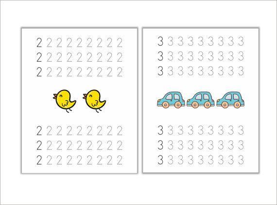 numeros infantilesescritura infantil por Ilustracionymas en Etsy
