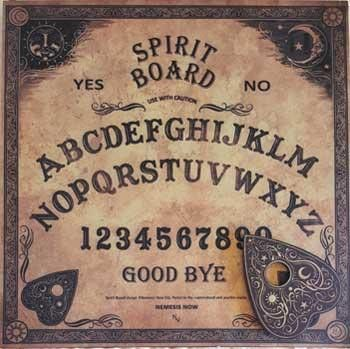 "This spirit or ""ouija"" board has a traditional look. It is an excellent communication board laid out for ease of use. The matt finish on durable board allows for smooth sliding of the plachette and ea"