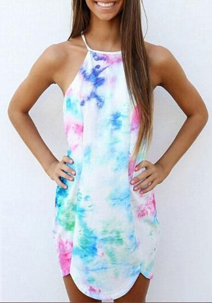 6b2a7489c656f6 Buy White Patchwork Spaghetti Strap Backless Tie Dye Round Neck Sleeveless  Mini Dress online with cheap prices and discover fashion Mini Dresses
