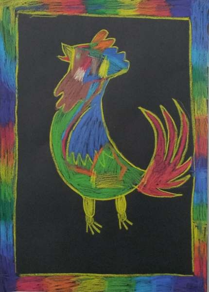 Dream Painters (Aug 2012): Picasso-style Roosters & Other Birds: Jakobe C (Prep).