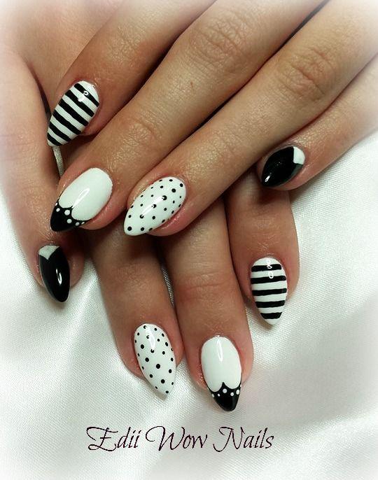black-white nails, gel nails