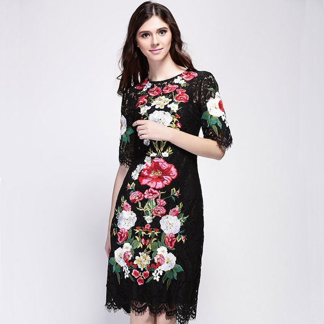 Lace Dress 2016 Spring Summer New Fashion Runway Brand Flowers Embroidery Luxury Short Sleeve Knee-length Black Dress US $50.96 /piece To Buy Or See Another Product Click On This Link  http://goo.gl/IdJFhm
