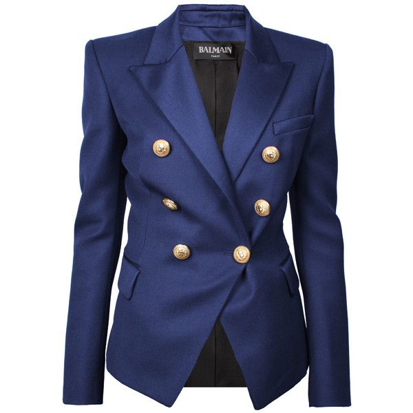BALMAIN Blazer Gold Buttons Navy ($1,530) ❤ liked on Polyvore featuring outerwear, jackets, blazers, balmain, coats, double breasted blazer, navy blue jacket, double breasted navy blazer, navy blazer and balmain jacket