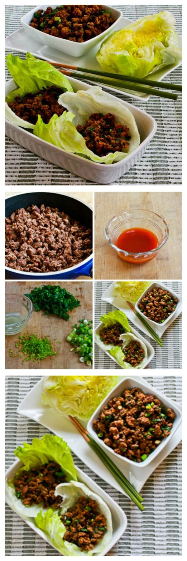 Quick Sriracha Beef Lettuce Wraps are a delicious low-carb and gluten-free meal that's just spicy enough to be interesting.  [found on KalynsKitchen.com] #DeliciouslyHealthyLowCarb