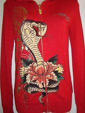 ED HARDY Christian Audigier Graphic Embellished Red Zip Up Hoodie Sweater Sz L in Clothing, Shoes & Accessories, Women's Clothing, Sweats & Hoodies | eBay