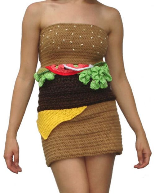 I don't know, would you wear it? This Crochet Hamburger Costume sure is creative!