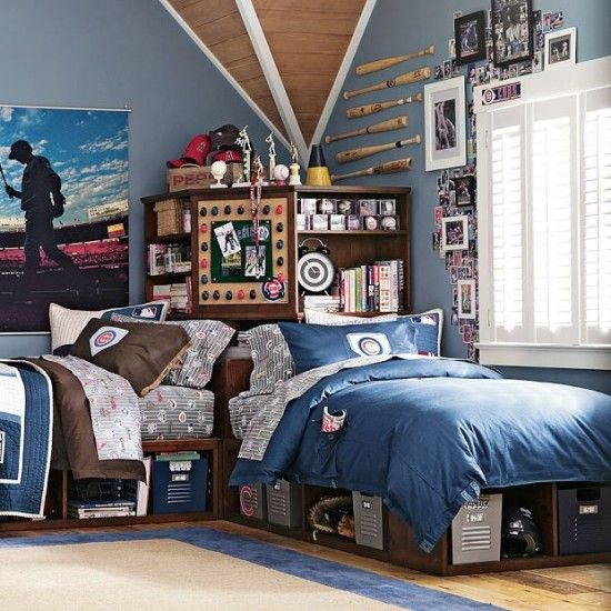 This Was The Inspiration From PB Teen That Started The Boys Baseball Bedroom.  We Are Loving These Beds And The Storage!