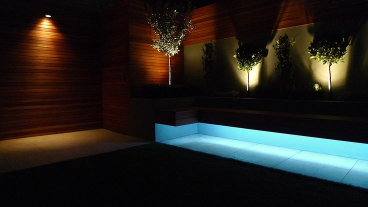 led bench uplights raised beds planting modern urban garden design London