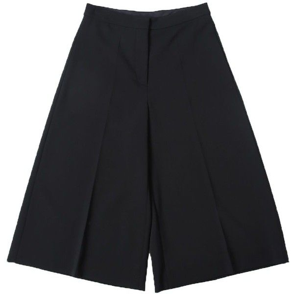 Stretch Wool Eve Cropped Trousers ($569) ❤ liked on Polyvore featuring pants, capris, black, stella mccartney, wide leg cropped trousers, wide leg cropped pants, wide leg pants and cropped trousers