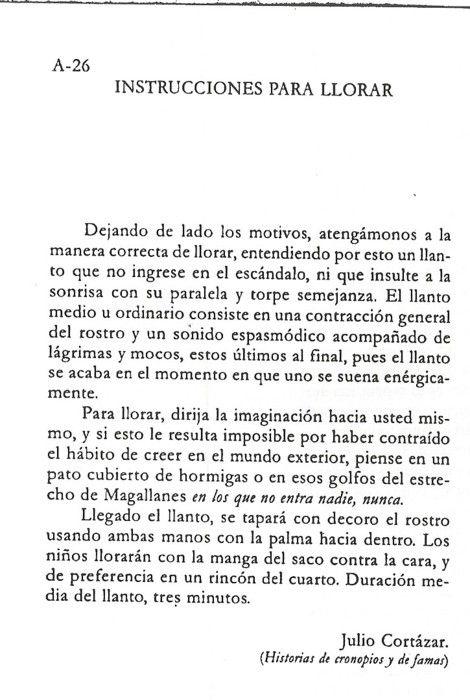 Instrucciones para Llorar - Julio Cortazar
