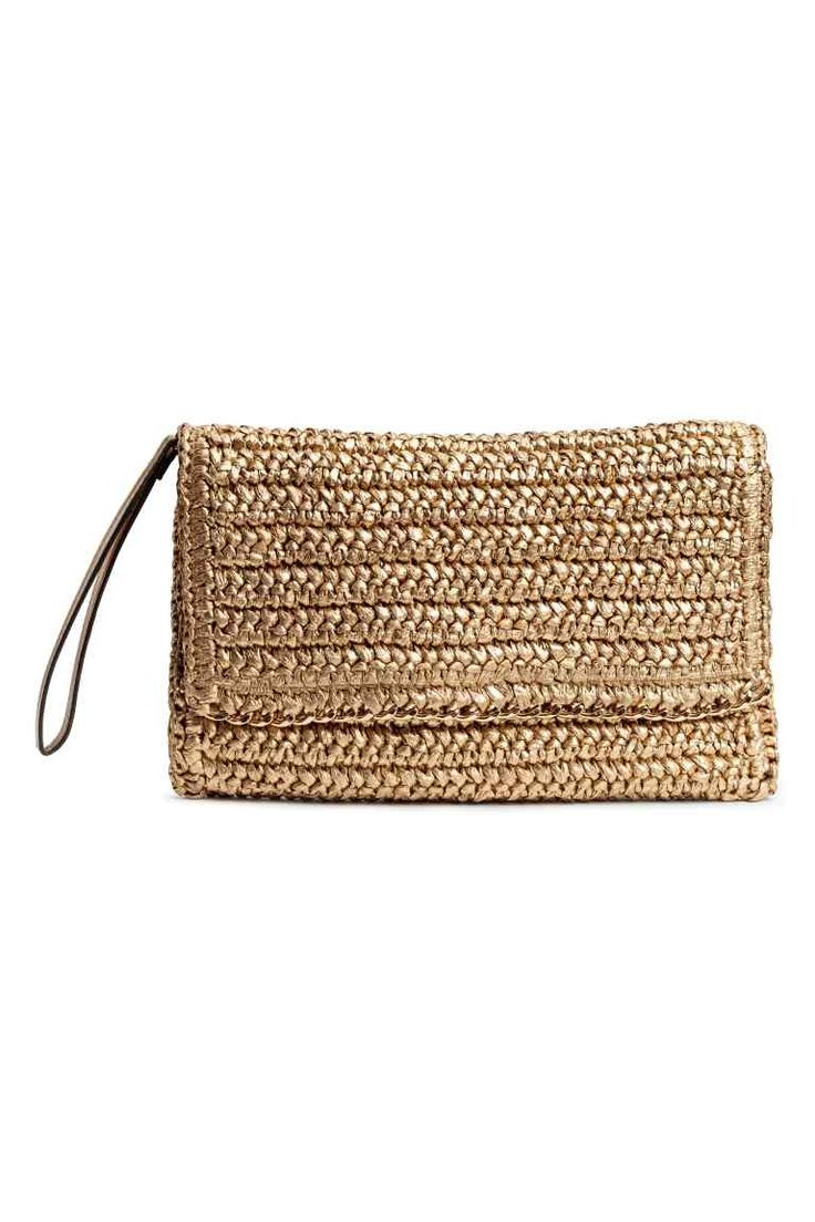Straw clutch bag - Gold - Ladies | H&M