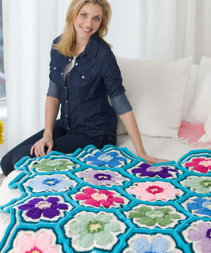 Red Heart Posey Throw Crochet Pattern - free pattern Download Printable Instructions This is a wonderful throw to liven up your room anytime of the year. Or perhaps this is the one you give to brighten up someone's day.