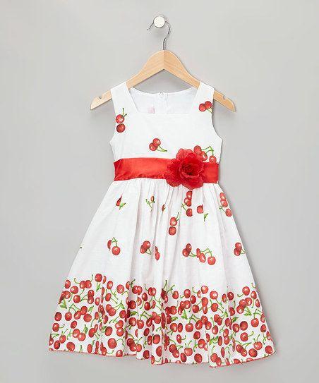 Kid Fashion White Cherry Dress - Infant, Toddler & Girls | zulily