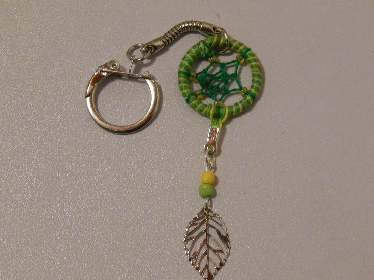 Porte Clés Attrape Rêves Dreamcatcher Vert Jaune : Porte clés par creacendre