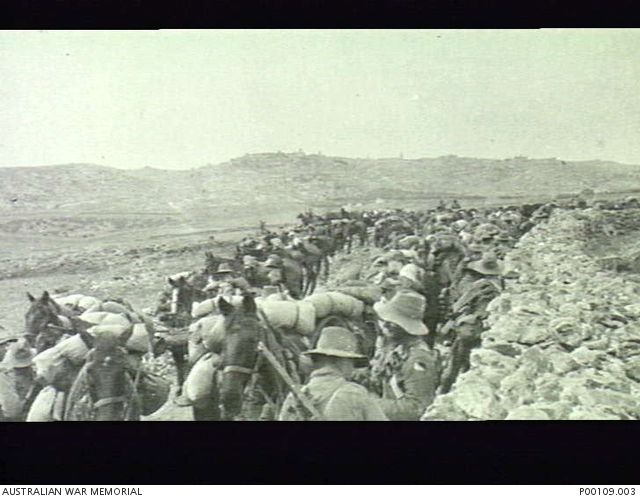 NEAR BETHLEHEM, PALESTINE, 1914-1918 WAR. THE 3RD LIGHT HORSE REGIMENT AIF, WITH BETHLEHEM IN THE BACKGROUND. [P00109.003 | Australian War Memorial]