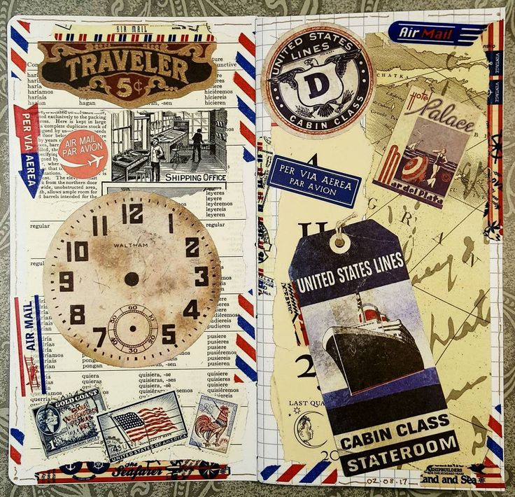 Just started on my 3rd Midori insert, this one handmade. #constancerosedesigns #collage #collagejourney #collageartist #artjournal #mtn #midoritravelersnotebook #vintagepaper