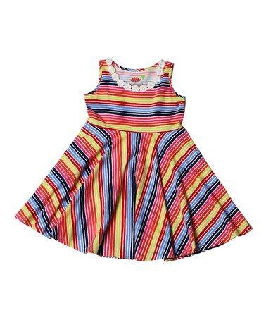 Red & Yellow Striper Little Cupcake Dress - Toddler & Girls #zulily #zulilyfinds