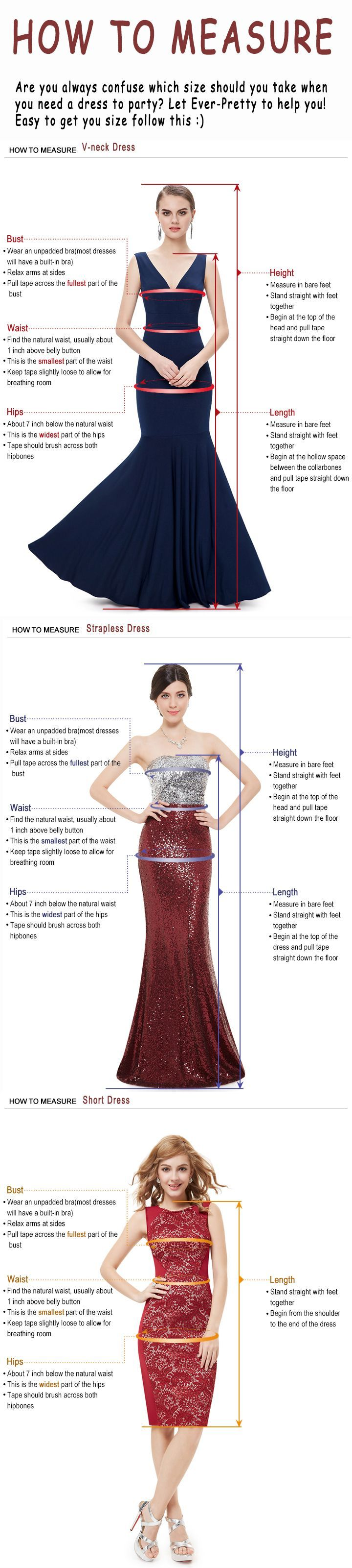 Are you always confuse which size should you take when you need a dress to party? Don't worry! Let Ever-Pretty to help you! >>ever-pretty.com #everpretty #howtomeasure #dress