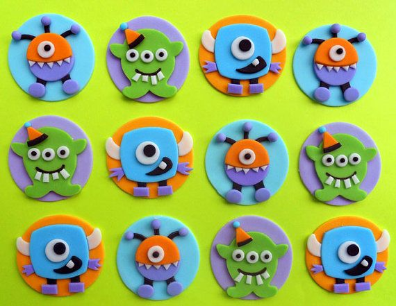 CUTE MONSTERS Fondant Cupcake Toppers by SWEETandEDIBLE on Etsy, $20.00