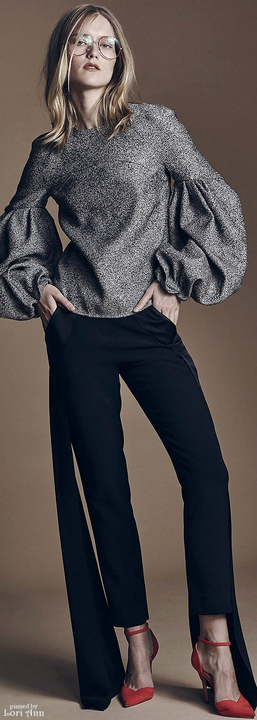 Hellessy Fall 2016 RTW jersey wool widely sleeve grey blouse black pants