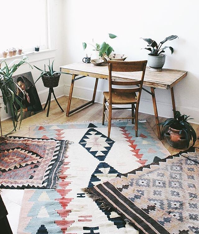 Colourful Eclectic Worke With Layered Rugs Via Workegoals On Instagram