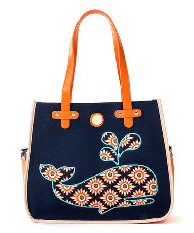 Loving this Orange & Navy Tybee Beach Tote on #zulily! #zulilyfinds
