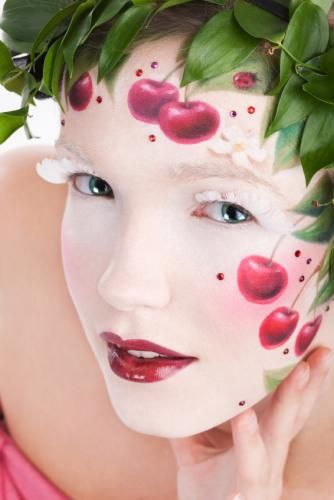 """Creative cherry themed make-up look complete with red crystal accents....  I guess that makes them """"Bling Cherries"""". ;-)"""
