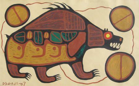 Spiritual Bear (Circa 1965) by Norval Morrisseau RSC, RCA, LLD, CM, DLitt presented by Hambleton Galleries