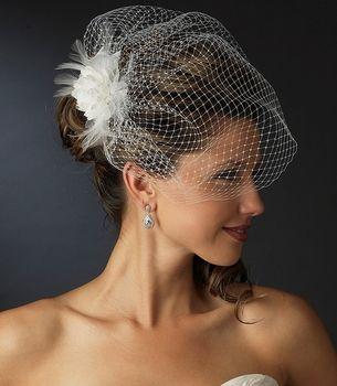 Feather Flower Fascinator with Birdcage Wedding Veil - simply elegant! affordableelegancebridal.com