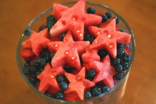 watermelon stars on blueberries- add a dollop of cream fraiche' and serve for 4th of July treat for the boys
