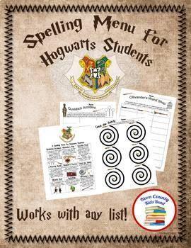 Spelling Menu for Hogwarts Students