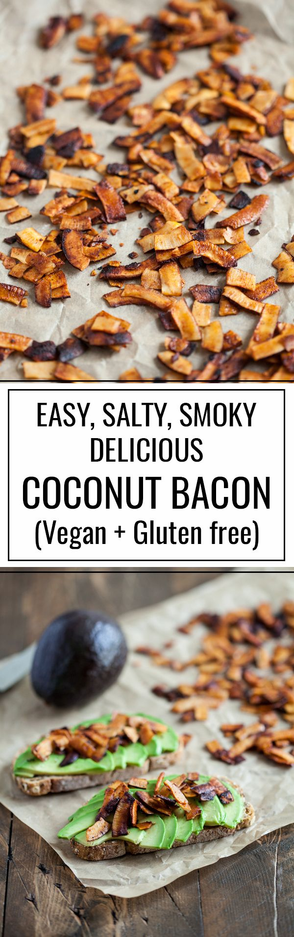 Easy, delicious vegan and gluten free coconut bacon: the perfect topping for soups, stews, toast, potatoes, and more! | The Full Helping