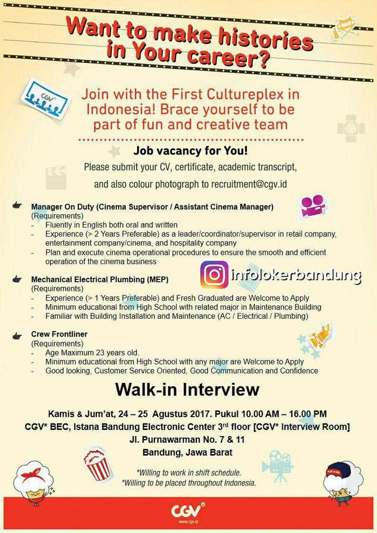 Lowongan Kerja CGV Bandung ( Walk In Interview ) 24 - 25 Agustus 2017