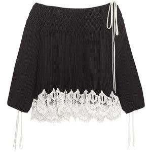 Chloé Off-the-shoulder macramé lace-trimmed plissé-chiffon blouse